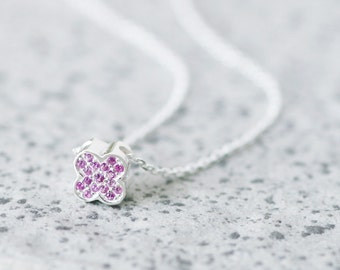 Pink Clover Necklace 925 Sterling Silver Dainty Necklace Pendant