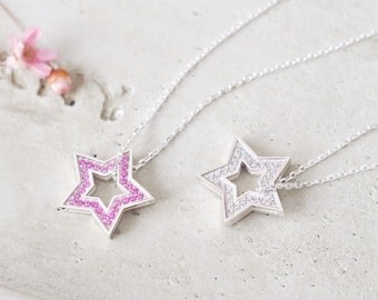 Pink Reversible Star Necklace 925 Sterling Silver 2-way Galaxy Pendant