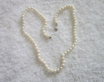 Vintage Strand Real White Pearl Necklace  18 inch