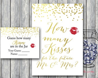 How many kisses in the jar, guess how many candy in the jar, Gold Confetti Bridal Shower Game, Bachelorette, Wedding Shower BS87