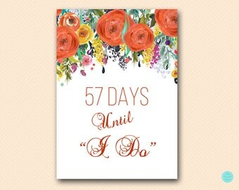 Personalized Fall in Love Bridal Shower Sign, Days until Wedding, Count Down to Wedding, Bridal Shower Sign, Shower decoration BS451 TLC451