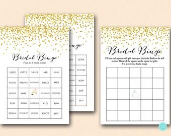 Bridal bingo game, 50 bridal bingo cards, bridal bingo printable Gold Confetti Bridal Shower, Bachelorette, Prefilled Bingo BS46
