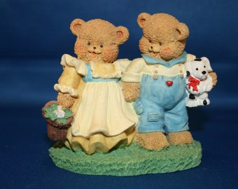 Vintage Country Cubs Bear Couple Figurines with Puppy