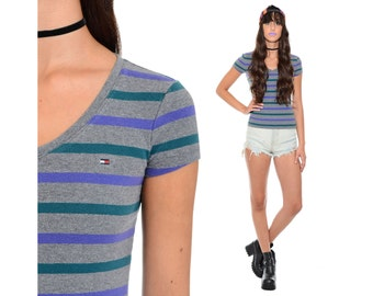 Vintage 90s Striped TOMMY HILFIGER Crop Top Stretch Grunge Clueless Club-Kid Hip Hop Sporty Shirt Baby Tee XS S *Free Shipping U.S.* vtg