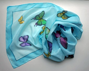 Luxary Silk Scarf Hand Painted Blue with Colourful Butterflies