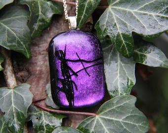Deep Purple and black dichroic glass  pendant,  dichroic glass necklace - purple fused glass,  purple fused glass pendant