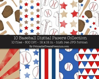 50% OFF Baseball Digital Paper Pack