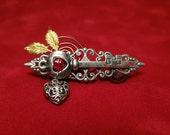 Steampunk skeleton key pin, Steampunk brooch, Victorian brooch, Skeleton key pin, filigree key and heart brooch, Vintage inspired shawl pin
