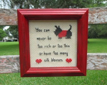 cute retro cross stitch in red frame, scotty dog, scottish terrier, 80's cross stitch, vintage cross stitch, cross stitch wall hanging
