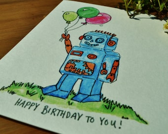 Retro Robot Birthday Card
