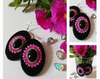 Dangle Earrings, black earrings with onyx cabochons