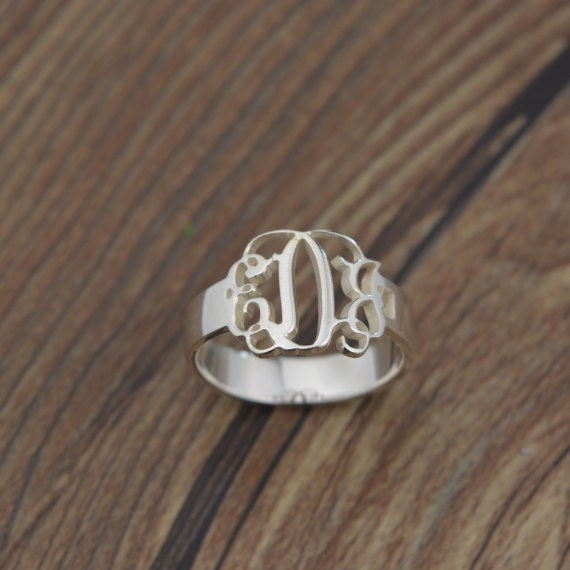 sterling silver monogram ring personalized by