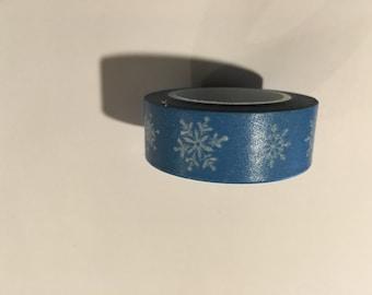Snowflake on Blue Background Washi Tape