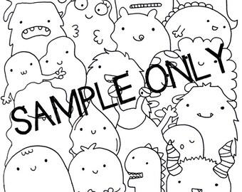 Adult Printable Coloring Page, Wall Art, Doodle - Kawaii Monsters