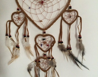 Catcher dreams - Dream Catcher - Camel heart, leather and stone