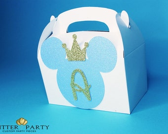 Blue & Gold Prince Mickey Mouse Birthday Party Favor Box- Perfect party decorations for Mickey Mouse themed party!