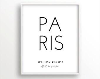 Paris poster, paris print, paris coordinates, coordinates wall art, poster coordinates, city art, city poster, paris art, paris printable