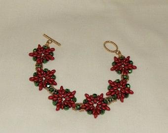 Beaded Poinsettia Bracelet