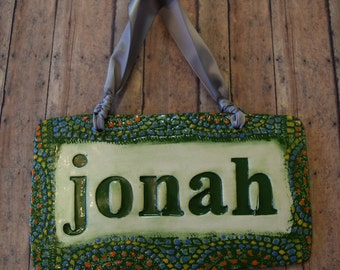 Baby Name Nursery Sign Personalized in Forest Green with Mosaic Style Boarder Highlighted with Yellow, Vintage Blue and Orange pops of color