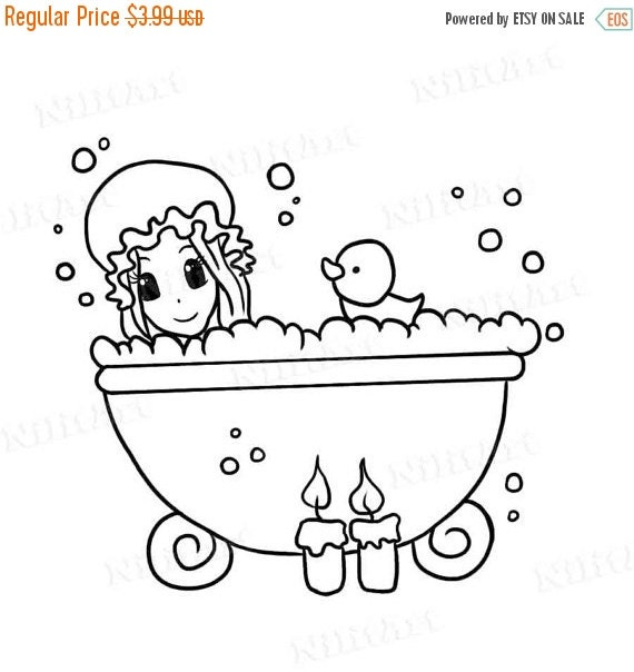50% OFF SALE Bath Girl Stamp, Fairy Digital Stamp, Coloring Stamp, Digital Art, Cartoon Digi Stamp, Printable Art IMG 097
