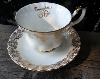 "Vintage Royal Albert ""Congratulations 50 Anniversary"" tea cup and saucer"