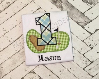Golf birthday shirt/ Personalized golf tee/ Hole in one birthday shirt/ Plaid golf shirt