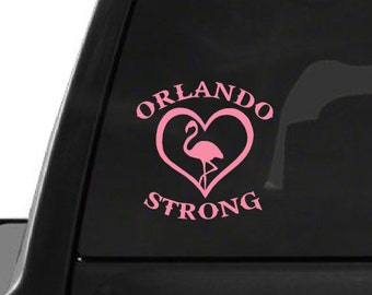 Pink Orlando Strong Flamingo (F27) Support Vinyl Decal Sticker Car/Truck Laptop/Netbook Window