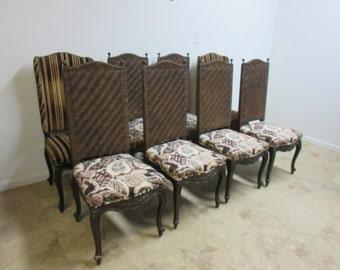 8 Vintage Italian Regency Carved Rush Back Dining Room Side Chairs Set