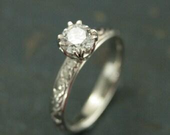 14K White Gold Engagement Ring--Vintage Style Handmade Engagement Ring--Antique Style Diamond Ring--Moissanite, Sapphire, CZ, White Topaz