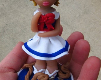 Polymer Clay Blue Sailor Girl Figurine