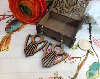 Laser cut wood earrings #18