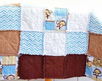 Custom Rag Quilt - Baby Blanket - Nursery Bedding - Crib Bedding - Patchwork Quilt - Handmade Quilt - Monkey Decor - Crib Quilt - Baby Boy