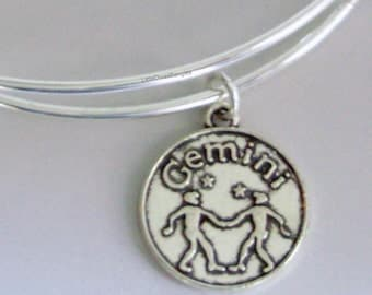GEMINI Zodiac CHARM  Adjustable Expandable Bangle Bracelet Zodiac Charm Bracelet  Gift - Under 20 Pick Your Sign  Usa  - z1