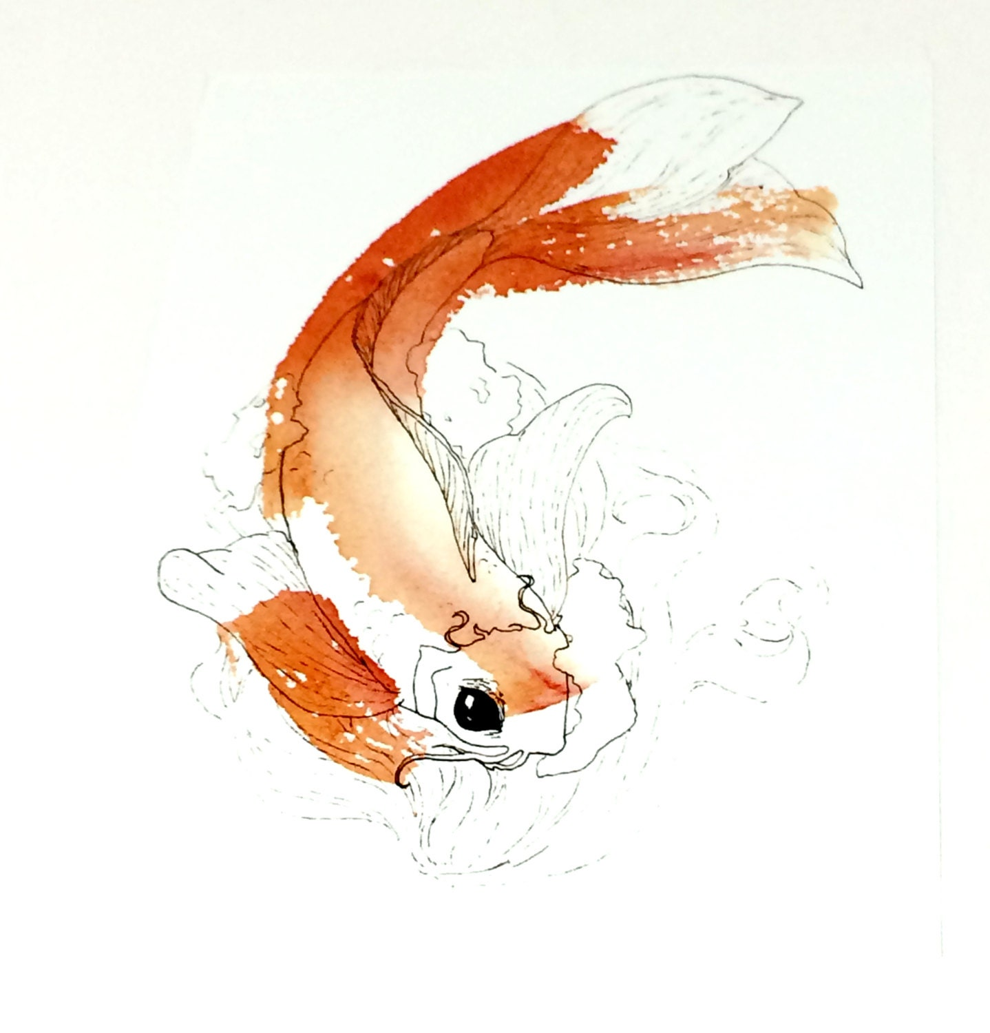 Koi painting koi fish wall art koi art koi fish art for Koi carp wall art