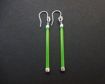 Neon Yellow Silver Earrings