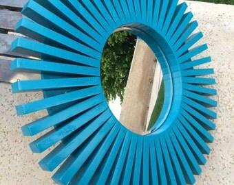 "Sunburst Wall Mirror Lagoon Wood Frame 26"""