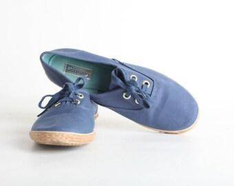 Women's Size 8W Vintage Blue CanvasTennis Shoes, Blue Sneakers