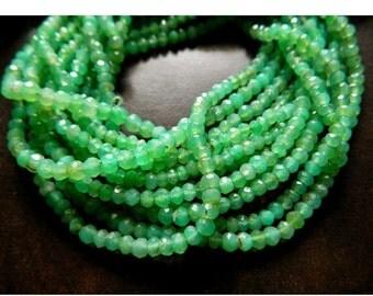 ON SALE 50% Chrysoprase Rondelles, Chrysoprase Bead, 3.5mm Faceted Beads, Faceted Rondelle Beads, 13 Inch Strand