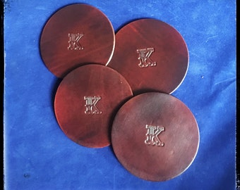 Personalized Handcrafted Leather Coasters - Set of 4