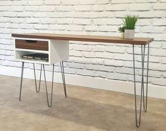 Mid-Century Modern, Desk, With Hairpin Legs, With Drawers,Modern Console