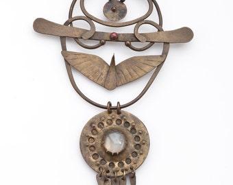 AF Egyptian Revival One of a Kind Copper Pendant Necklace