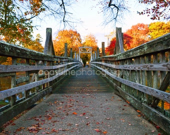 Spring Lake, Spring Lake NJ, Fall Foliage, Autumn, Bridge, Fall, Jersey Shore Prints, Fine Art Print
