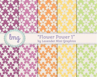 Flower Pattern Digital Scrapbook Paper - Seamless Pattern, Non-textured Backgrounds, Retro Colors - Instant Download, Commercial Use