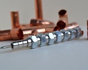 MAGNETIC PEN 7, steampunk pen, gift pen, pen with magnets, unique pen, screw nuts pen, silver pen, industrial pen, urban pen