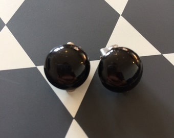 Vintage black glass earrings
