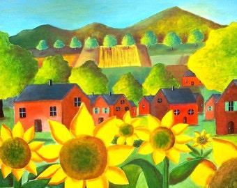 Table landscape naïve - table hand painted landscape - table landscape, red houses and sunflowers