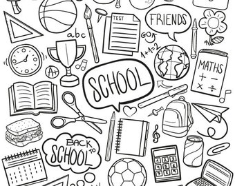 School Learning Friends Back to School Doodle Icons Clipart Scrapbook Set