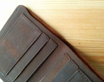 Wallet Crazy Horse Leather Antique Look - Vertical