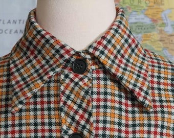 Queensway To Fashion Country Lane Plaid/Tartan Wool Coat, 70s, M/L