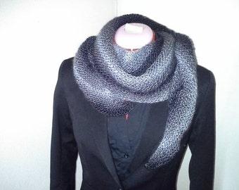 Hand Knit Stylish Shawl Scarf Cowl Wrap shades of grey and black *Ready to Ship*